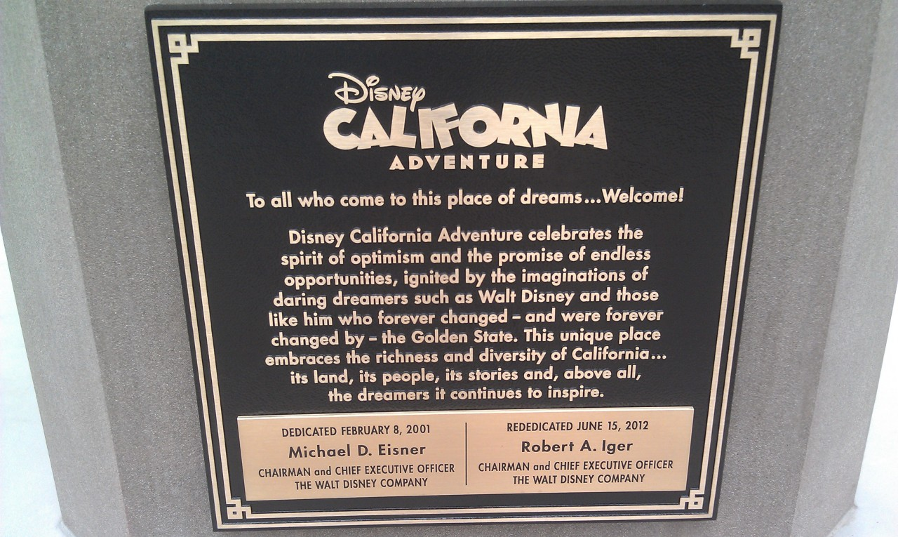 The DCA dedication plaque.