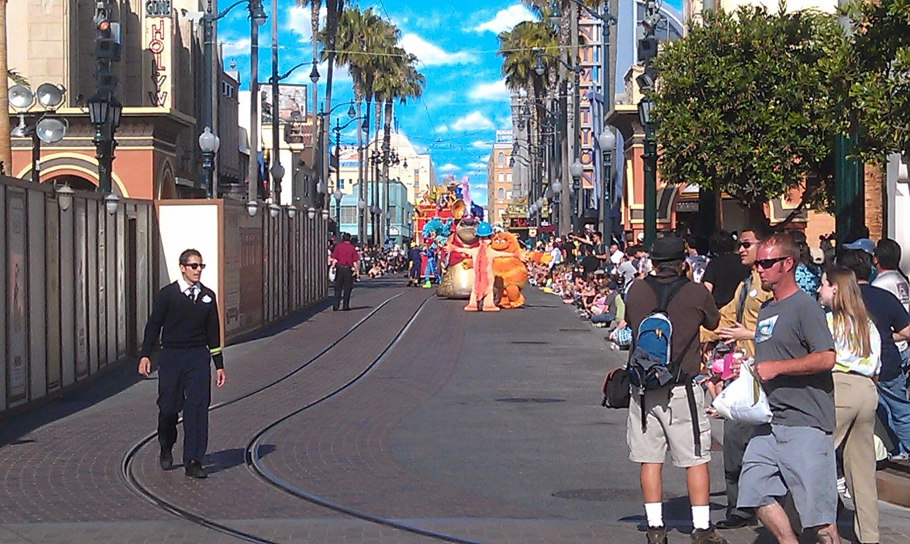 The Pixar Play Parade making its way up Hollywood Blvd.