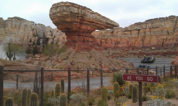 The Radiator Springs Racers are just starting up for the day.