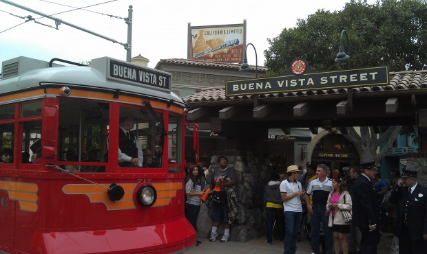 The Red Car Trolley pulling into the station at the end of #BuenaVistaStreet