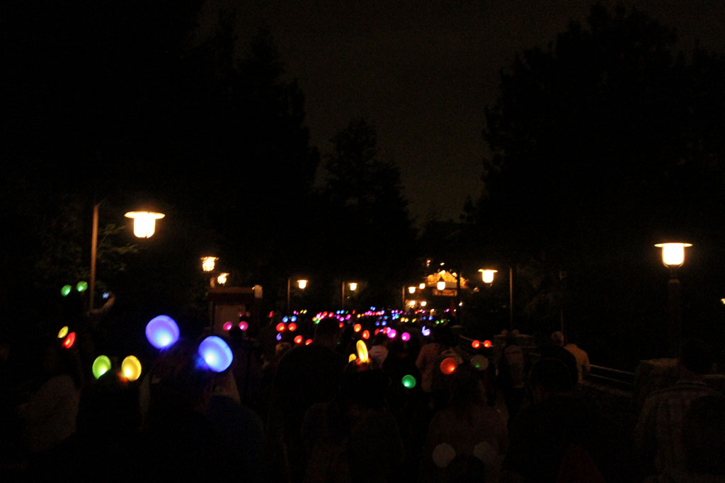 The crowd exiting with their Glow with the Show Ear Hats on