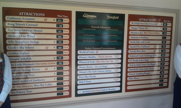 The new wait time board at DCA
