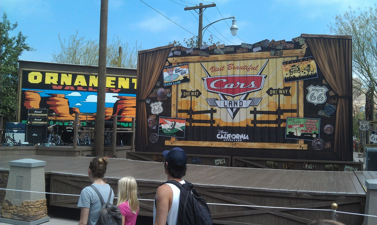 The stage set up for the events this evening for the opening of #CarsLand