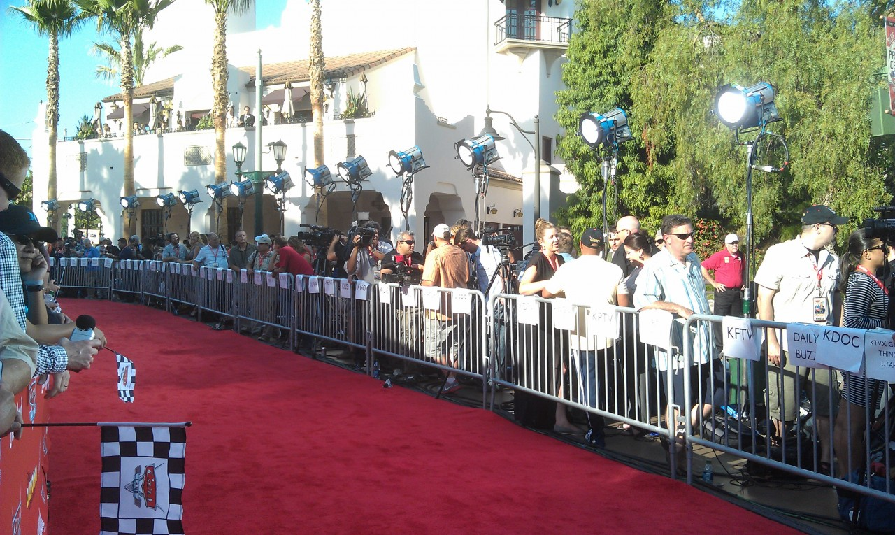 Waiting for the celebrity arrivals on the Red Carpet for #CarsLand