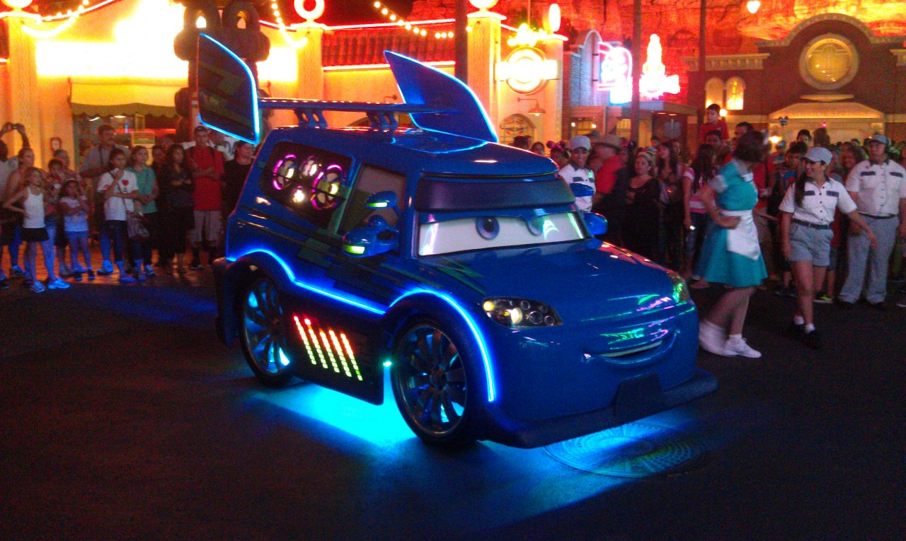 DJ rolling out for a dance party in #CarsLand