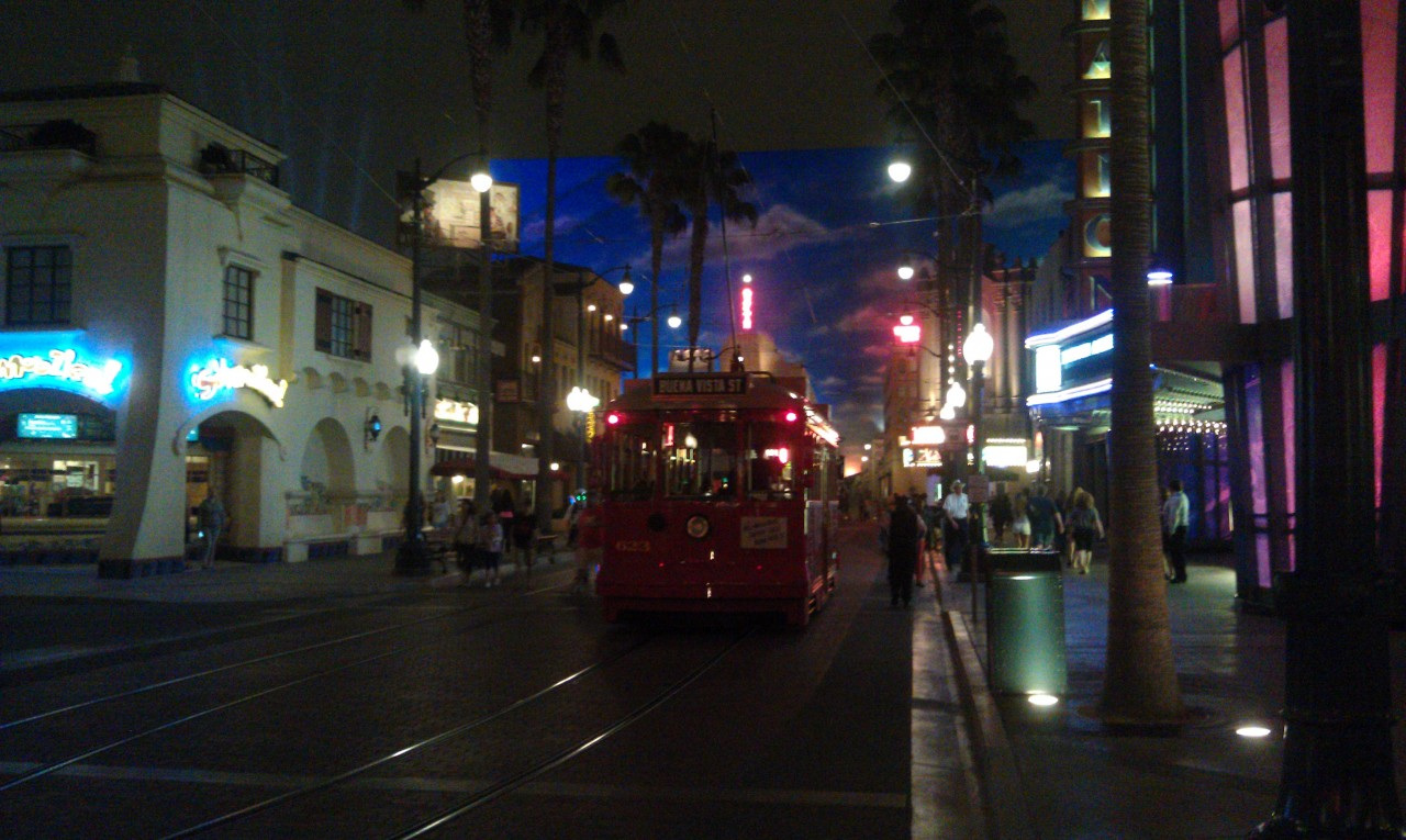 The Red Car Trolley making a stop at the Animation Building.