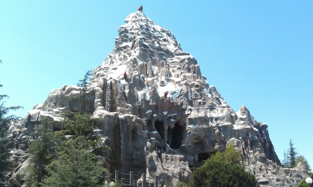 Climbers on the Tomorrowland facing side of the Matterhorn this afternoon.