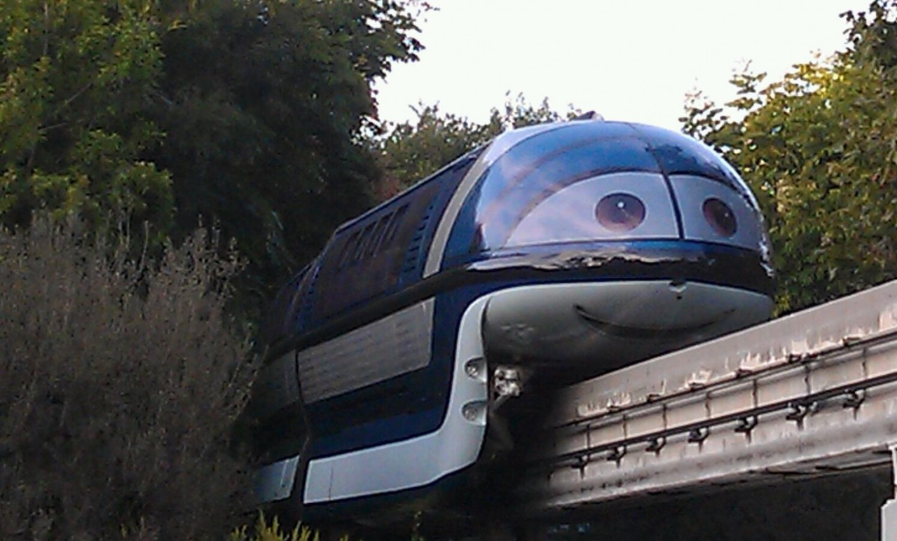 Mandy Monorail cruising over Fantasyland