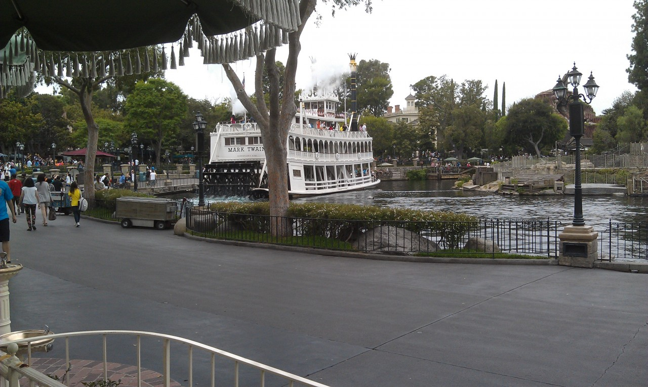 Our view while eating lunch. The Rivers of America