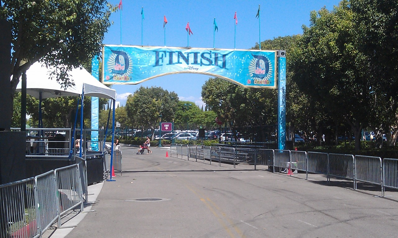 The final preparations are underway for the #Disneyland 1/2 marathon this weekend.  The finish line is ready.