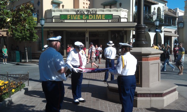 The flag retreat on #BuenaVistaStreet is a silent ceremony, no music.