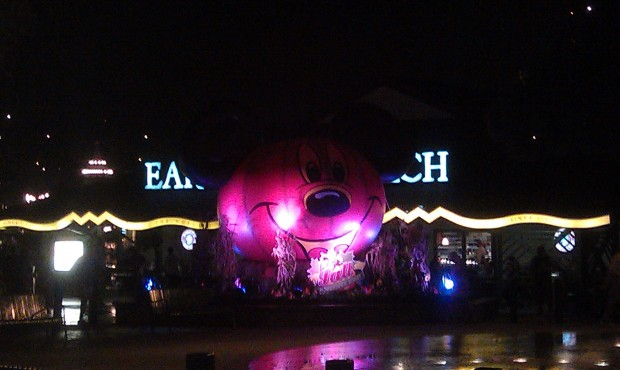 At Downtown Disney this evening with the objective of staying dry.