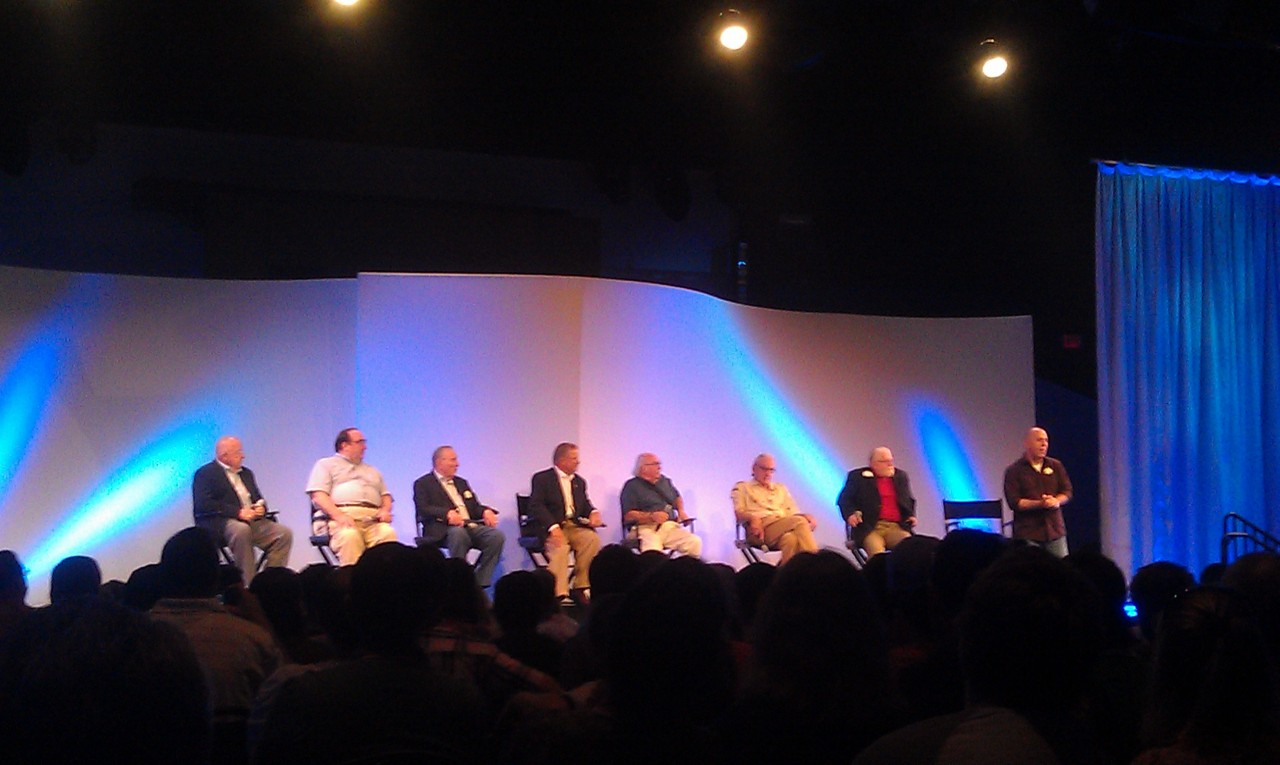 First panel includes members of the team that helped build the park