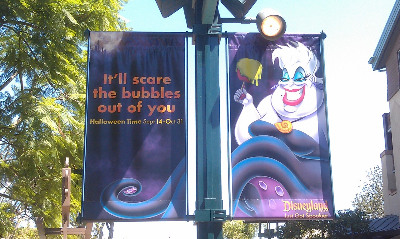 Halloweentime banners in Downtown Disney.