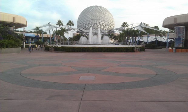 It is great to walk through the park when it is nearly empty.  Looking back at Spaceship Earth