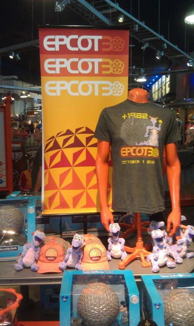 Some of the #EPCOT30 merchandise in MouseGear