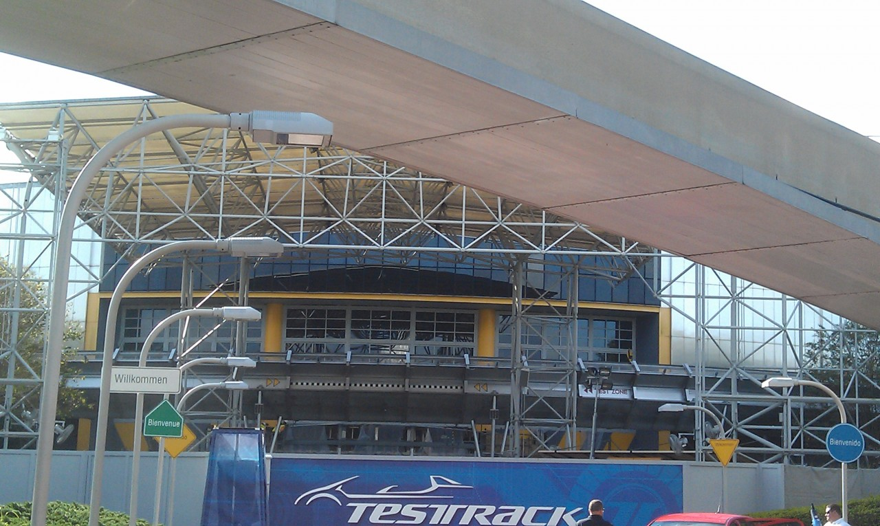 The current state of Test Track, they are working on the entrance area this morning.