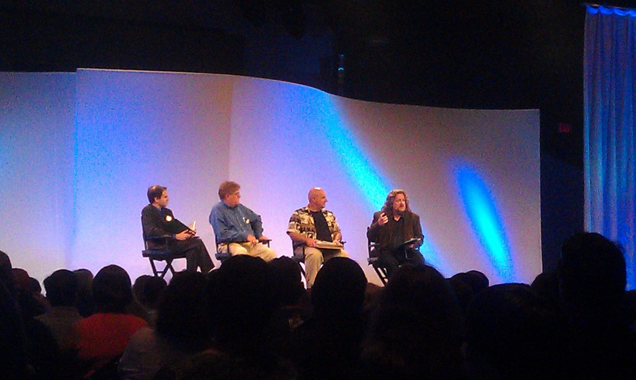 The panel – Steven Vagnini, Tim O'Day, Greg Ehrbar, and Russell Brower #d23epcot30
