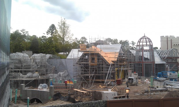 A check in on the restroom construction between Fantasyland and Liberty Square