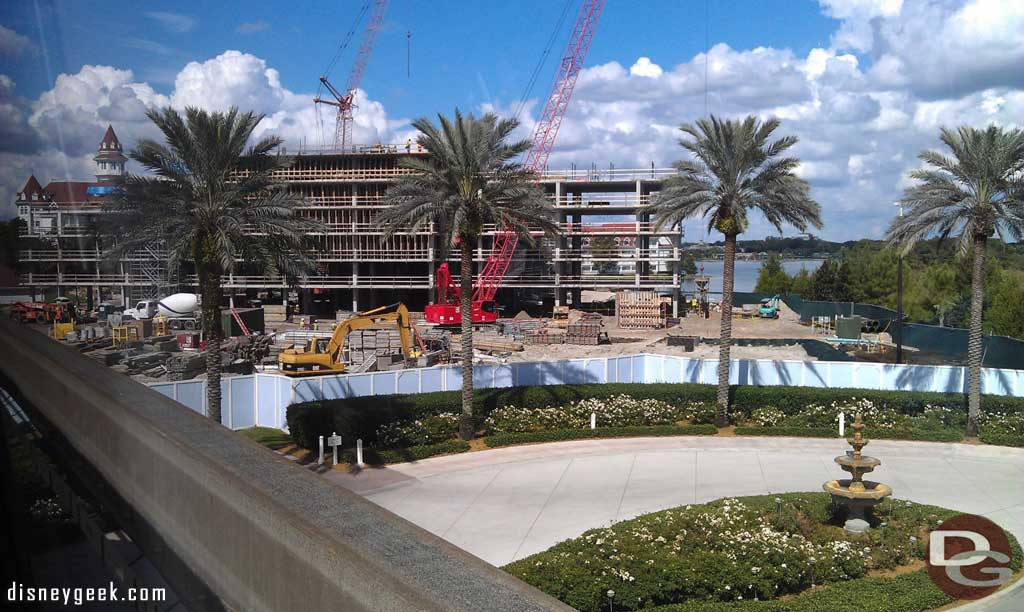 A look at the Grand Floridian DVC work from the monorail.