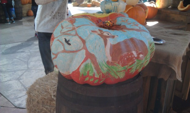 A scene from Bambi painted on a pumpkin