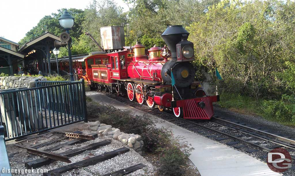 A train pulling out if Storybook Circus
