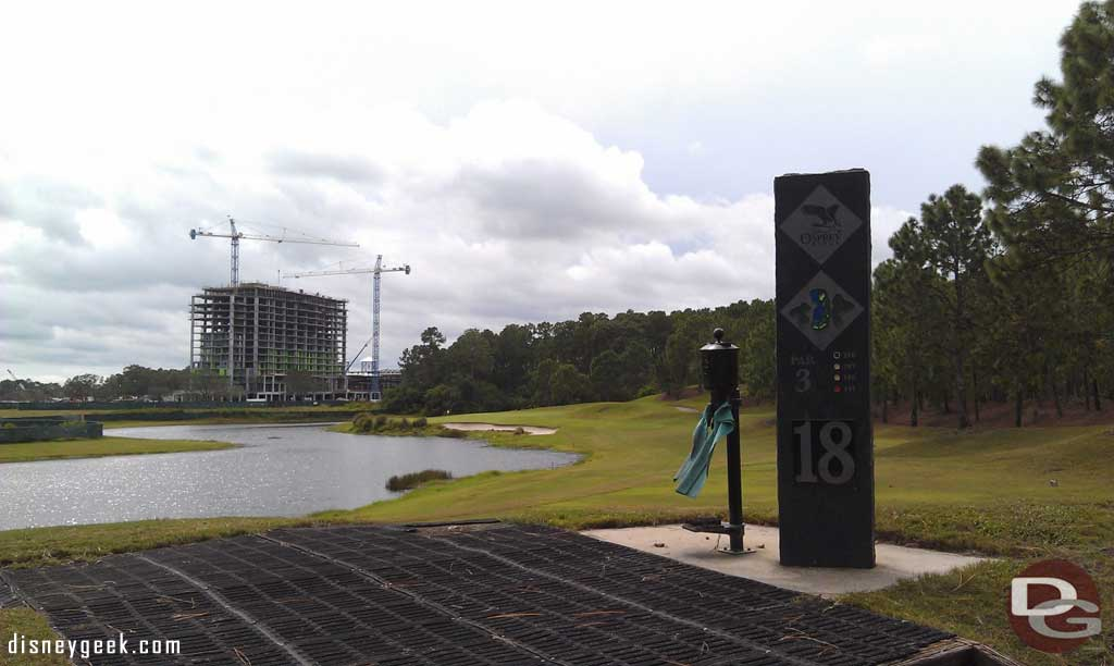 From the 18th tee you get a good view of the Four Seasons