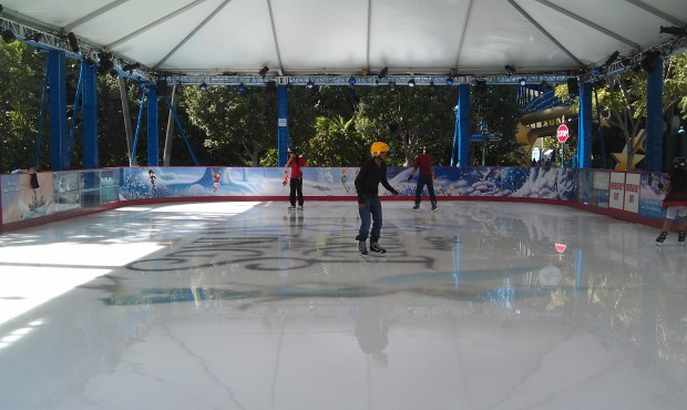 Ice skating and Christmas music is perfect as long as you ignore the temp,  the mid 80s