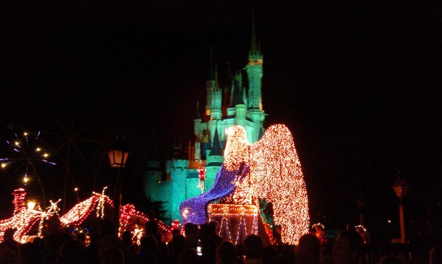MSEP finale float passing by.  Mickey and Minnie were walking ahead of it.