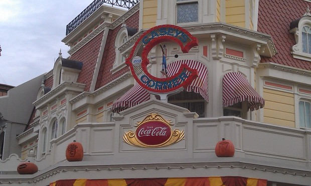 Many of the pumpkins on Main Street match the location they are over