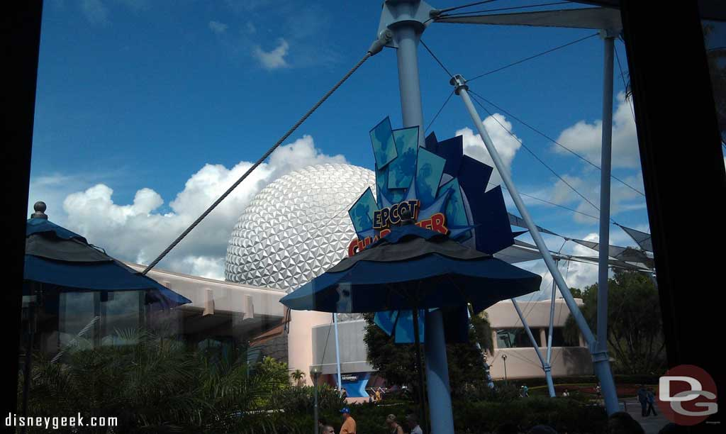 My view of Spaceship Earth from the Fountain View while eating some ice cream.