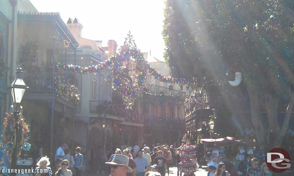 New Orleans Square has received some of its Christmas decorations.