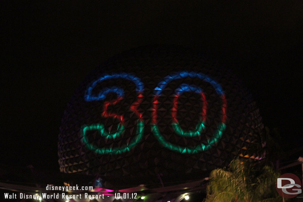 On the way out of EPCOT, Speceship Earth had an #Epcot30 message