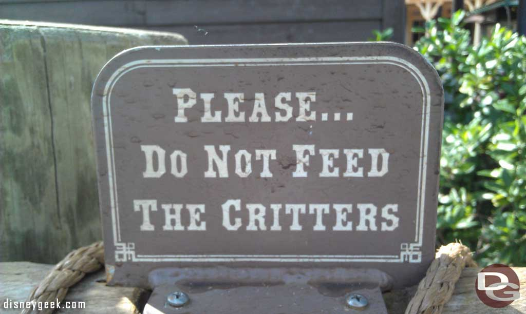 Remember not to feed the critters…