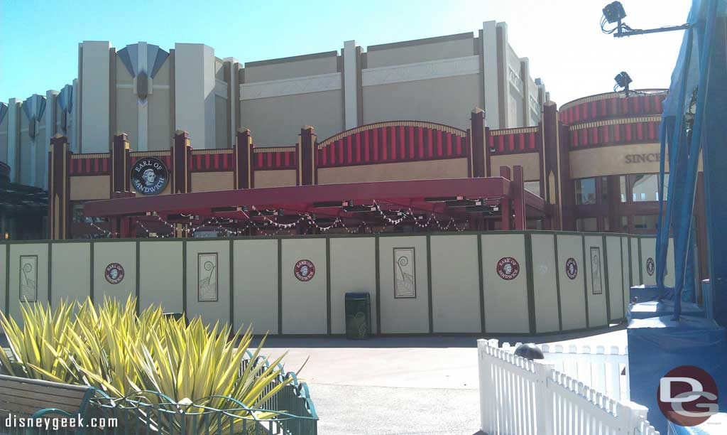 Starting off this afternoon at the #Disneyland Resort in Downtown Disney.  Earl of Sandwich looks almost done.