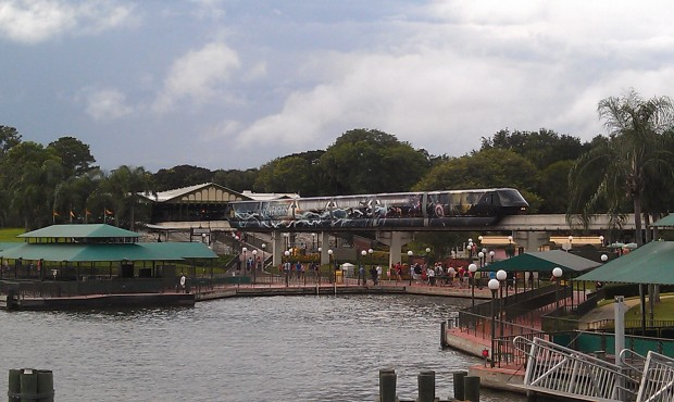 The Avenger Monorail on the resort beam this afternoon