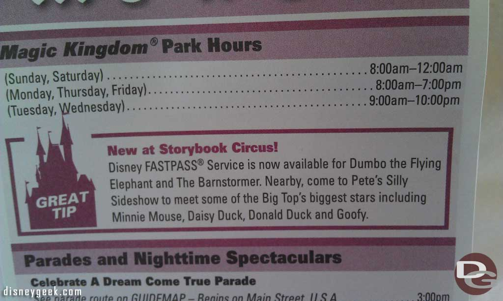 The Magic Kingdom time guide this week has a box/highlight for the new Storybook Circus additions