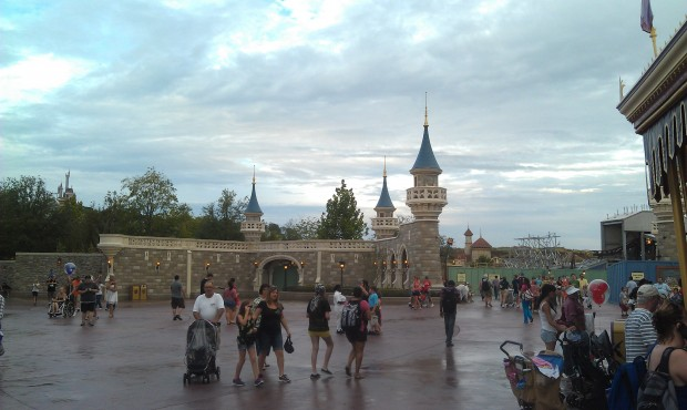 The one section of castle wall that is out from behind the walls of the new Fantasyland
