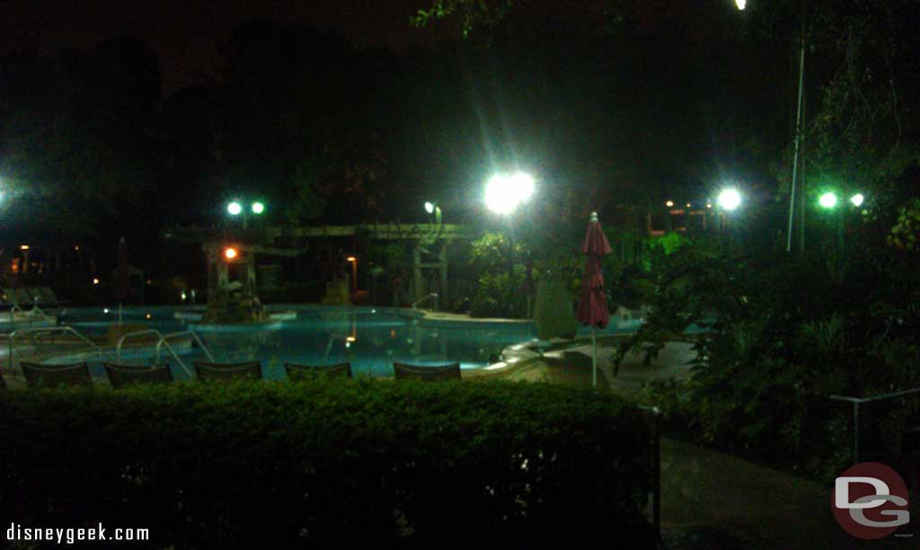 Up before the sun again to go golfing.  A look at the pool as I strolled by.