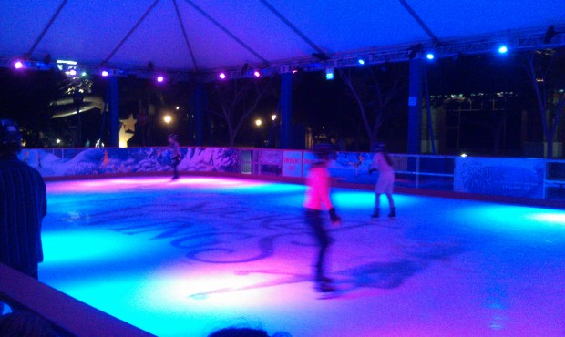 Walked by the ice rink on the way out.  quite a few more guests out on the ice this evening.