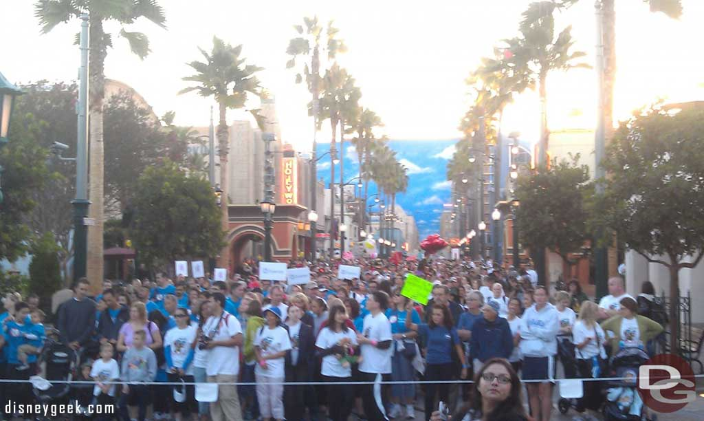 Walkers fill Hollywood Blvd as they wait to start their walk.