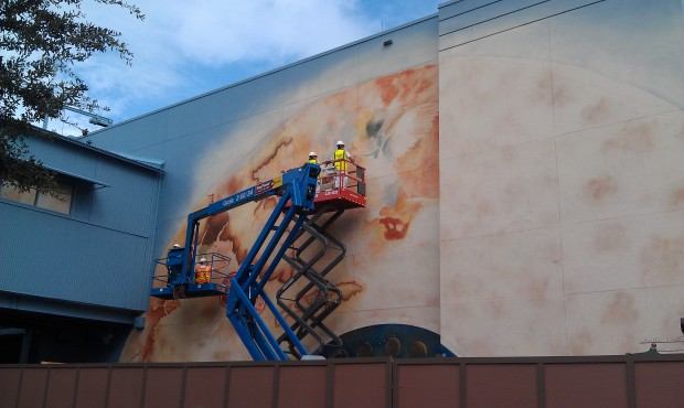 Working on the mural for the upcoming Pirates exhibit.