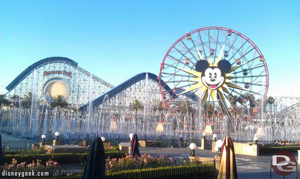 World of Color fountains greet walkers in Paradise Pier