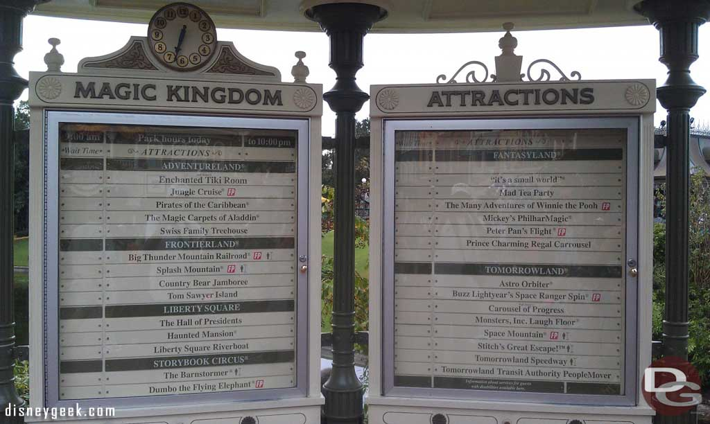 hmm something missing from the wait time board… the wait times!
