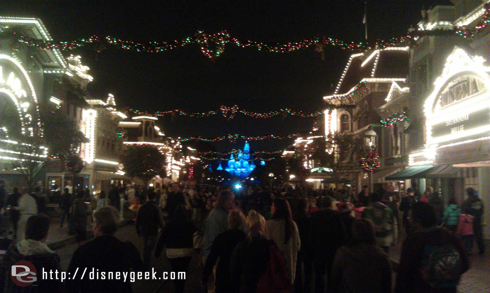 A look at Main Street USA this evening with the Christmas lights on