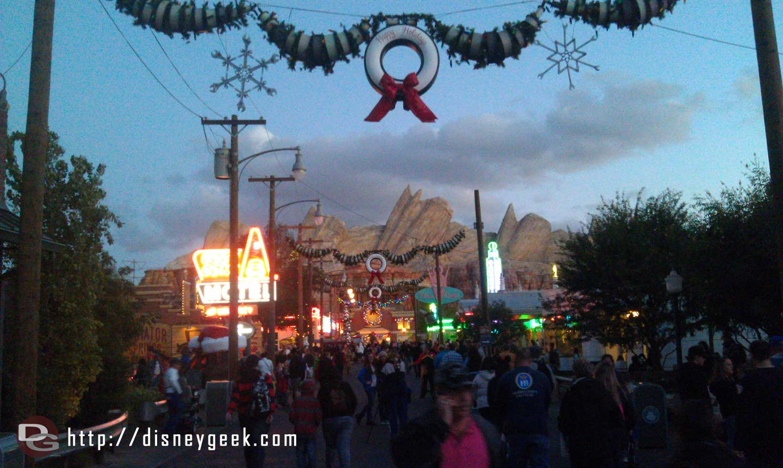 #CarsLand lights coming on.