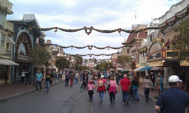 Main Street USA now with garland across the street