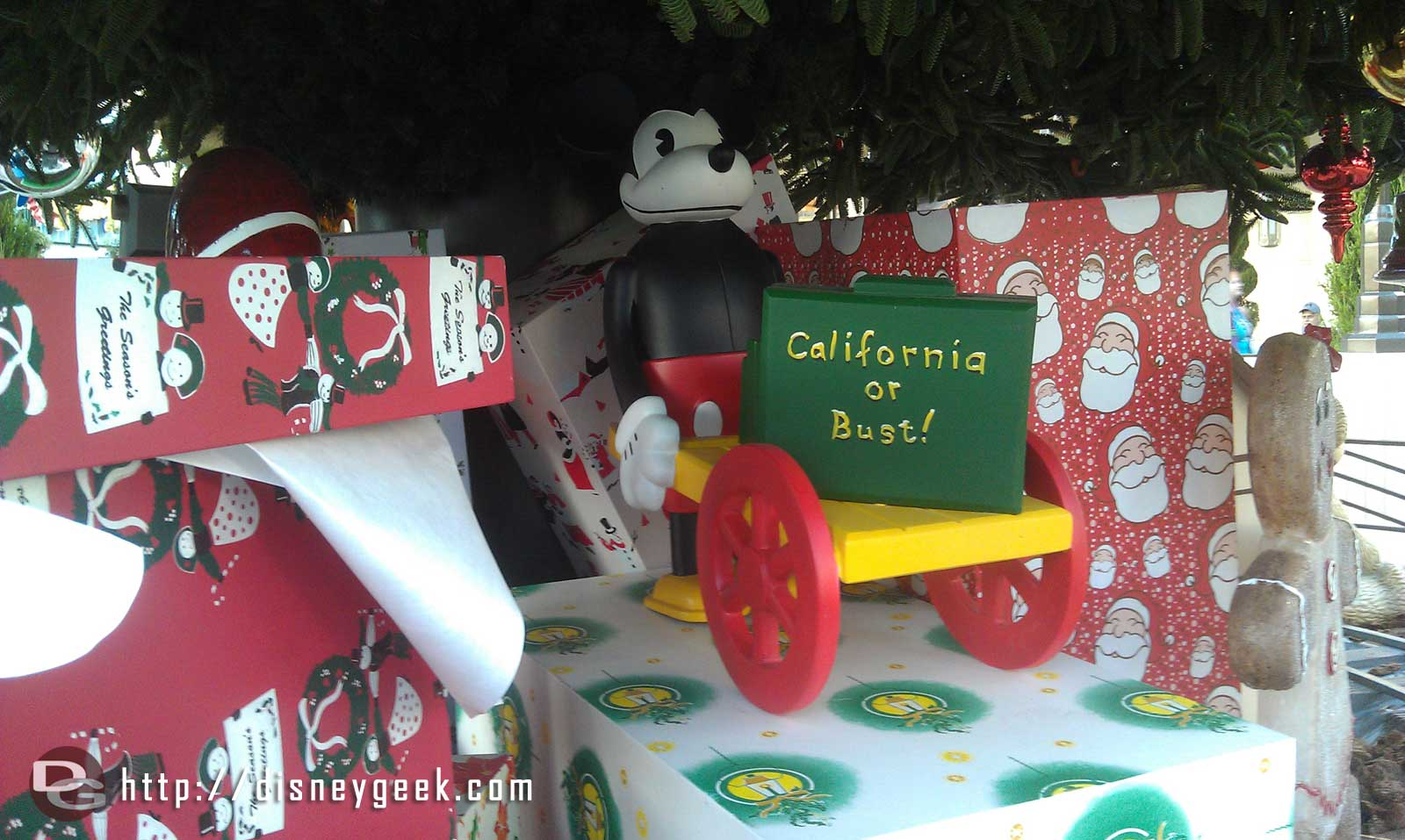 Next stop #BuenaVistaStreet a vintage Mickey Mouse under the tree.