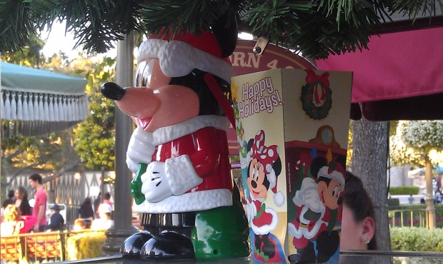 Santa Mickey popcorn buckets on Main Street USA