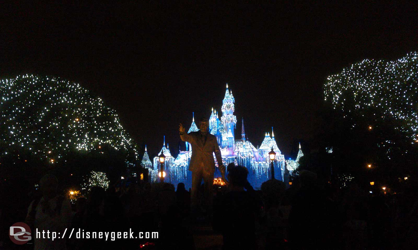 Sleeping Beauty Castle during a Wintertime Enchantment (snow moment)
